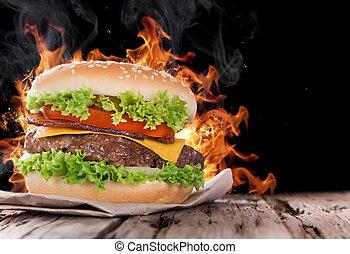 ogień, hamburger, zachwycający, płomienie