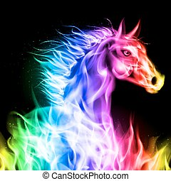 ogień, horse., barwny