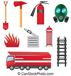 ogień, objects., komplet, zapobieganie