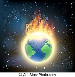 ogień, obsypać kulę, świat