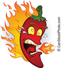 ogień, pieprz, chili, gorący, rysunek