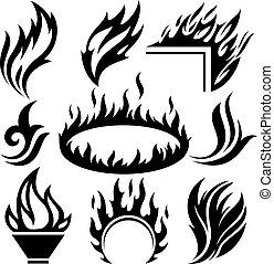 ogień, tatuaże, komplet, płomień, znaki