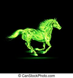 ogień, zielony, horse.