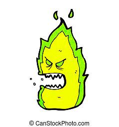 ogień, zielony, rysunek, potwór