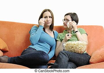 oglądając, kobieta, dwa, telewizja