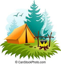 ognisko obozowe, las, kemping namiot