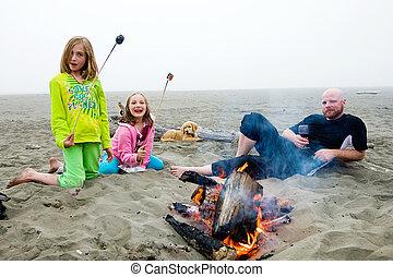 ognisko obozowe, plaża