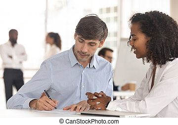 ogniskowany, transakcja, porozumienie, klient, znak, zamykanie, samiec, biuro