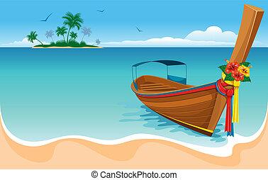 ogon, długi, łódka
