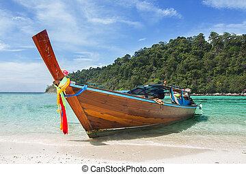 ogon, seascape., długi, łódka