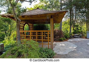 ogród, drewniany, wyspa, japończyk, balkon, tsuru