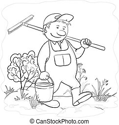 ogród, grabie, kontur, ogrodnik