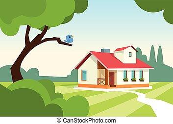 ogród, stan, dom, nowoczesny, cielna, miejsce zamieszkania