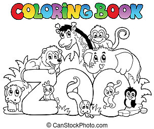 ogród zoologiczny, kolorowanie, zwierzęta, książka, znak