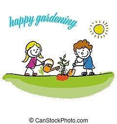 ogrodnictwo, dzieciaki, stickman, szczęśliwy