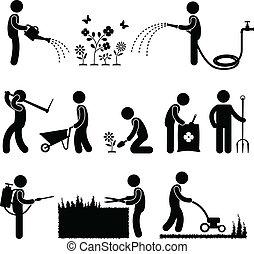 ogrodnictwo, praca, pracownik, ogrodnik