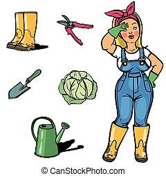 ogrody, cartton, ogrodnik, narzędzia, zabawny