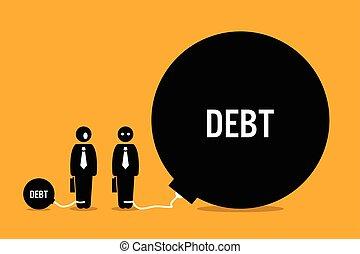 ogromny, ludzie, inny, debt., zdziwiony, człowiek