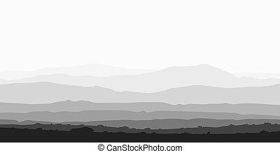 ogromny, range., krajobraz, góra
