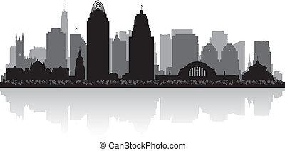 ohio, skyline przedstawią w sylwecie, cincinnati, miasto