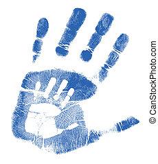 ojciec, syn, handprints