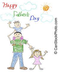 ojcowy dzień, karta, szczęśliwy