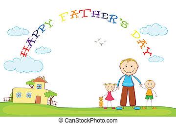 ojcowy, dzieciaki, ojciec, dzień, tło
