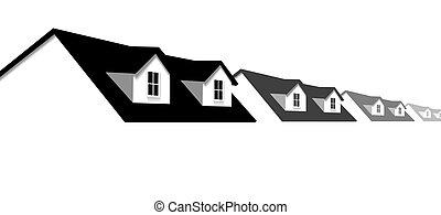 okno mansardowe, okna, dach, domy, dom, brzeg, hałas