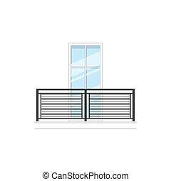 okno, metal, balkon, poręcze, balustrada