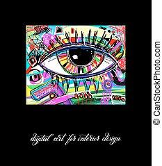 oko, printable, cyfrowy, rówieśnik, dzieło, malarstwo, oryginał