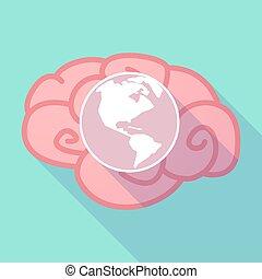 okolica, długi, mózg, świat, cień, ameryka, kula
