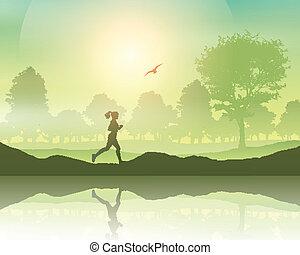 okolica, jogging samica
