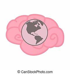 okolica, odizolowany, mózg, świat, ameryka, kula