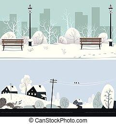 okolica, park, zima, śnieżny, domy, krajobraz, ławy