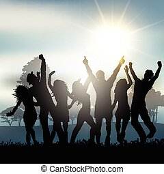 okolica, partia, ludzie, taniec