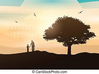 okolica, pieszy, ojciec, syn