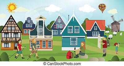 okolica, turyści, holenderski