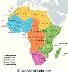 okolice, mapa, jednorazowy, afryka, kraje
