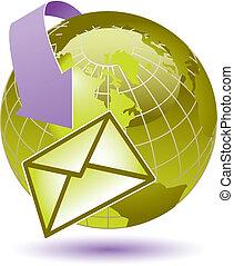 okrąża, email, ziemia