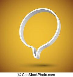 okrągły, mowa, chorągiew, balloon, czysty, 3d