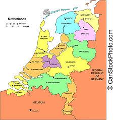 okręgi, okoliczny, niderlandy, administracyjny, kraje