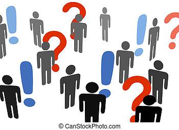 okrzyk, informacja, rewizja, ludzie, pytajniki