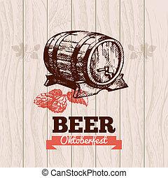 oktoberfest, ręka, menu, piwo, projektować, tło., rocznik wina, illustration., pociągnięty