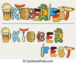 oktoberfest, tekst, ilustracja, odizolowany, lettersl., wektor, piwo, projektować, biały