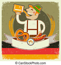 oktoberfest, tekst, papier, stary, ilustracja, posterl, człowiek, beer., wektor, niemiec, rocznik wina