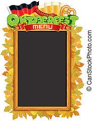 oktoberfest, wektor, blackboard., szablon, menu