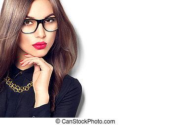okulary, sexy, dziewczyna, odizolowany, białe tło, wzór, chodząc, fason, piękno