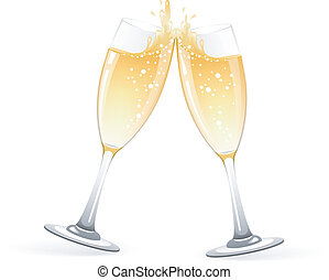 okulary, szampan