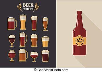 okulary, zbiór, piwo, wektor, płaski