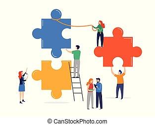 olbrzym, metaphor., elements., ludzie, pojęcie, zagadka, współudział, malutki, złączony, kooperacja, teamwork